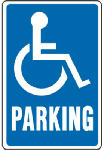 "Hy-Ko Prod HW-13 Sign, ""Handicapped Parking"", Blue & White Aluminum, 12 x 18-In."