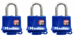 Master Lock 312TRI 3-Pack 1-1/2 Inch Laminated Padlock With Blue Weatherproof Cover