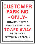 "Hy-Ko Prod 700 Sign, ""Customer Parking Only"", Red/Black Heavy-Duty Plastic, 19 x 15-In."
