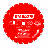 Freud D0724A Decking & Framing Saw Blade, 24-TPI, Carbide-Tipped, 7-1/4-In.