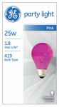G E Lighting 22730 25-Watt Transparent Pink Party Bulb
