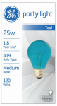 G E Lighting 22732 25-Watt Transparent Teal Party Bulb