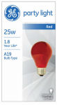 G E Lighting 49727 25-Watt Transparent Red Party Bulb