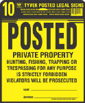 "Hy-Ko Prod PP-1 Sign, ""Private Property"", Yellow & Black Tyvek, 12 x 12-In., 10-Pk."