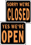 "Hy-Ko Prod SP-113 15 x 19-Inch Hy-Glo Orange/ Black Plastic ""Open/ Closed"" Reversible Sign"