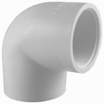 Genova Products 33905 PVC Pressure Pipe Fitting, Elbow, 90-Degree, White PVC, 1/2-In.