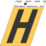 Hy-Ko Prod GG-25/H 3-1/2-Inch Gold/ Black Aluminum Adhesive Letter H