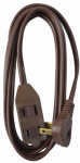 Ho Wah Gentin Kintron Sdnbhd 09407ME Extension Cord, 16/2 SPT-2 Brown, Low Profile Polarized Slender Plug, 7-Ft.