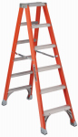Louisville Ladder FM1506 6-Ft. Twin Ladder, Fiberglass, Type IA, 300-Lb. Duty Rating