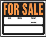 "Hy-Ko Prod SP-112 ""Auto For Sale"" Sign, Hy-Glo Orange/ Black Plastic, 15 x 19-In."