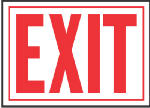 "Hy-Ko Prod SS-2W ""Exit"" Sign, Red/White Aluminum,  10 x 14-In."