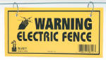 Dare Products 1614-3 Electric Fence Warning Sign, Yellow & Black Laminated Vinyl, 4 x 8-In., 3-Pk.