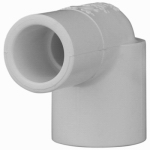 Genova Products 32905 Street Elbow, 90-Degree, Spigot x Slip, White, 1/2-In.