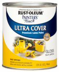 Rust-Oleum 1945-502 Painter's Touch Latex Paint, Sun Yellow Gloss, 1-Qt.