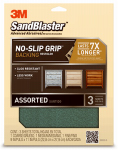 3M 20000-G Sandblaster No Slip Grip Sandpaper, Assorted, 9 x 11-In., 3-Pk.