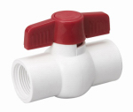 B&K 107-136 Threaded Ball Valve, White PVC, 1-1/4-In.