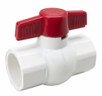 B&K 107-636 Solvent Ball Valve, White PVC, 1-1/4-In.