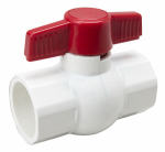 B & K/Mueller Inds(Import) 107-637 Solvent Ball Valve, White PVC, 1-1/2-In.