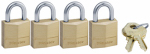 Master Lock 120Q 4-Pack 3/4-Inch Solid-Brass Keyed-Alike Padlock