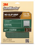 3M 20080-G Sandblaster No Slip Grip Sandpaper, 80-Grit, Green, 9 x 11-In., 3-Pk.