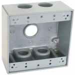 Hubbell Electrical Products TGB75-5 2 Gang Outlet Box, Gray, Weatherproof, Five 0.75-In. Holes