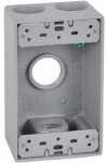Hubbell Electrical Products FSB75-4 Weatherproof 1-Gang Rectangular Outlet Box, Gray, Four 3/4-In. Holes