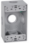 Hubbell Electrical Products FSB75-5X Weatherproof 1-Gang Rectangular Outlet Box, Gray, Five 3/4-In. Holes