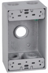 Hubbell Electrical Products FSB50-5 Gray Weatherproof 1-Gang Rectangular Outlet Box, Five 1/2-In. Holes