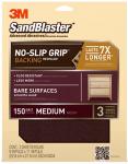 3M 20150-G Sandblaster No Slip Grip Sandpaper, 150-Grit, Maroon, 9 x 11-In., 3-Pk.