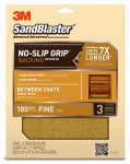 3M 20180-G Sandblaster No Slip Grip Sandpaper, 180-Grit, Gold, 9 x 11-In., 3-Pk.