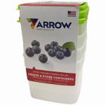 Arrow Plastic Mfg 00043 Freezer & Storage Container, 1-1/2-Pt., 4-Pk.