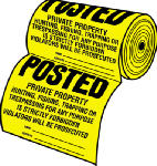 "Hy-Ko Prod TSR-100 Sign, ""Private Property"", Yellow/Black Tyvek, 12 x 12-In., 100-Ct."