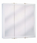 Zenith Products W24 Medicine Cabinet, White Wood, Tri-View