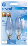 G E Lighting 48700 Reveal 25-Watt B-10 Blunt-Tip Clear Chandelier Bulb