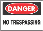 Hy-Ko Prod 514 10 x 14-Inch White/ Red Danger No Trespassing Sign