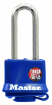 Master Lock 312DLH 1-1/2 Inch Long-Shackle Laminated Padlock With Blue Weatherproof Cover
