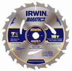 Irwin Industrial Tool 14028 Marathon Circular Saw Blade, Carbide-Tipped, 7.25-In., 18-Teeth