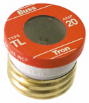 Cooper Bussmann BP-TL-20 Plug Fuse, Type TL, Time Delay, 20-Amp, Must Purchase 3-Pk. In Quantities of 5
