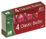 Noma/Inliten-Import 1075R-88 Christmas Lights Replacement Bulb, C7, Red Transparent, 4-Pk.