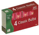 Noma/Inliten-Import 1095R-88 Christmas Lights Replacement Bulb, C9, Red Transparent, 4-Pk.