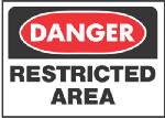 "Hy-Ko Prod 501 Sign, ""Danger Restricted Area"", Red/Black Polypropylene, 10 x 14-In."