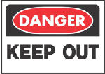 "Hy-Ko Prod 512 Sign, ""Danger Keep Out"", Red/Black Polypropylene, 10 x 14-In."