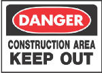 "Hy-Ko Prod 520 10 x 14-Inch Red/ Black ""Danger Construction Area Keep Out"" Sign"