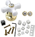 Brass Craft Service Parts SH5740 Fit-All  Polished Brass Base With White Ceramic Tub & Shower Handle