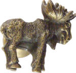 Sierra Lifestyles SL-681376 Realistic Moose Cabinet Knob, Right Facing,  Antique Brass