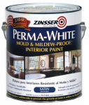 Zinsser & 2711 Mold & Mildew Proof Interior Paint, White Satin, Gallon