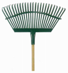 Flexrake 1W 19-Inch Flexible or Flex Steel Head Lawn Rake With 48-Inch Wood Handle