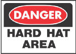 Hy-Ko Prod 507 10 x 14-Inch White Danger Hard Hat Area Sign