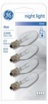 G E Lighting 20572 4-Pack 4-Watt Clear Night Light Bulbs