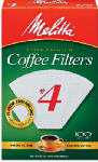 Melitta 624102 100-Pk. #4 White Cone Coffee Filters